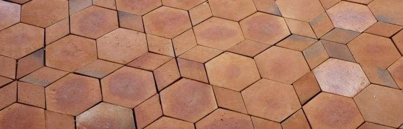 Hexagon tiles 6x6x1 hexagonal terracotta floor tiles for Terrace tiles