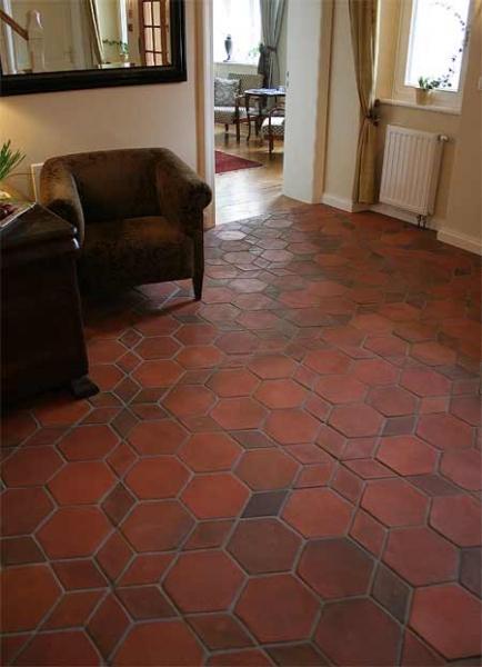 Hexagon tiles 6x6x1 hexagonal terracotta floor tiles manufacturers designs for Exterior terracotta floor tiles