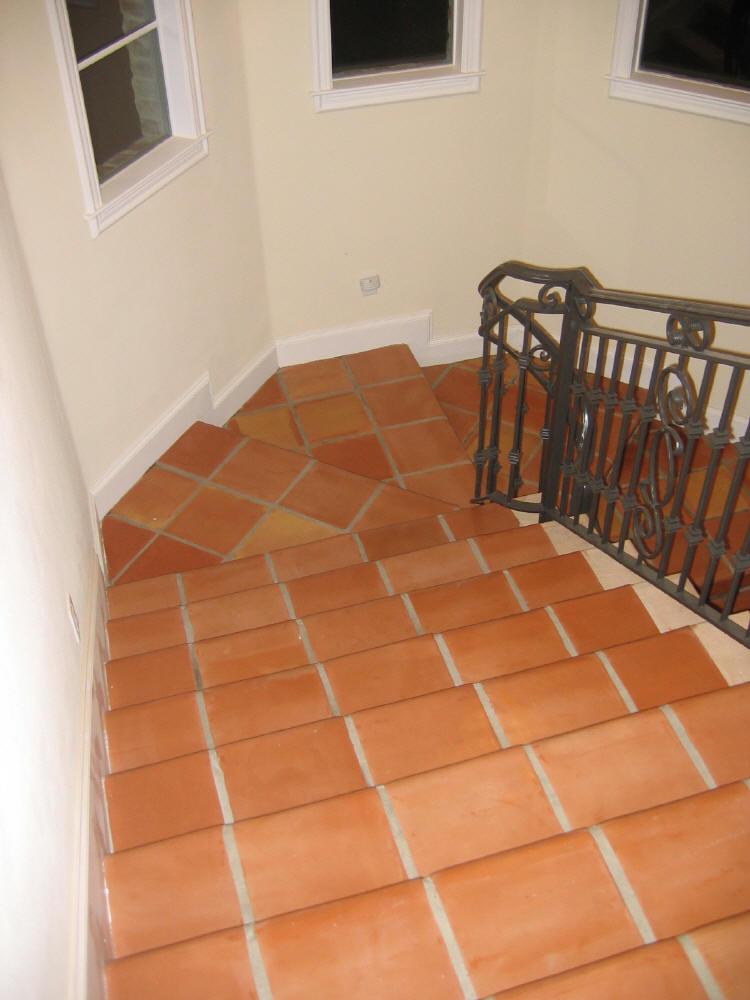 Terracotta tiles stair modern home styles design pattern for Modern house tiles