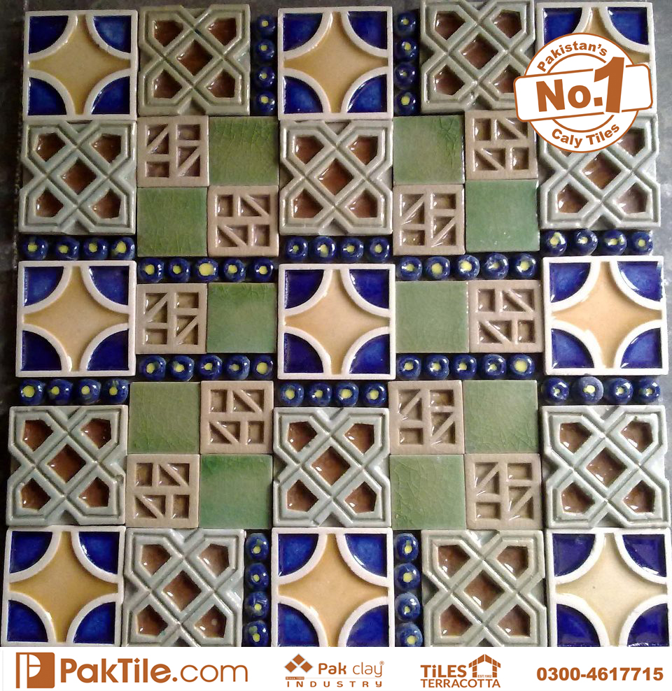 Pak Clay Green Blue Colourful Face Handmade Ceramic Mosaic Wall Tile Design Factory Store in Lahore Islamabad Gujranwala Pakistan Images