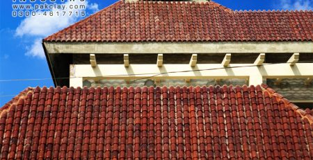 Red clay colour dark and light brown shade glazed khaprail brick roof shingles tiles price front architectural exterior house elevation design pictures images in lahore pakistan