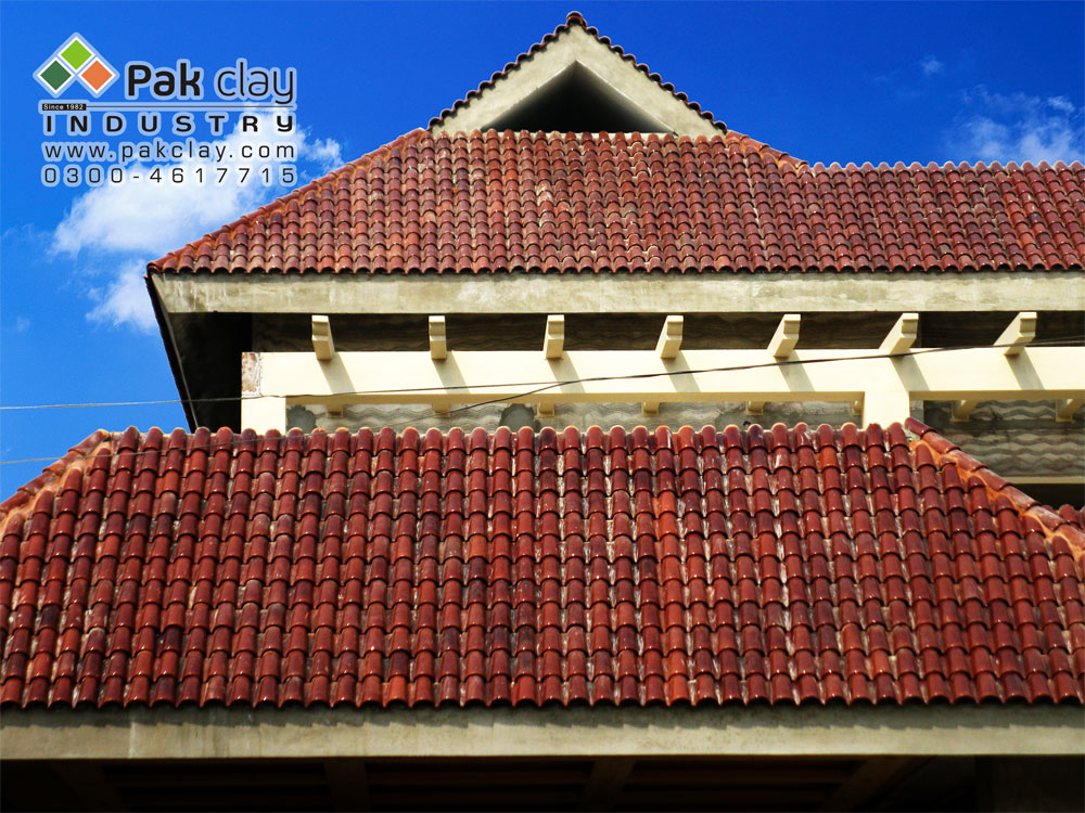 Brick Front Elevation Designs : Red clay colour dark and light brown shade glazed khaprail