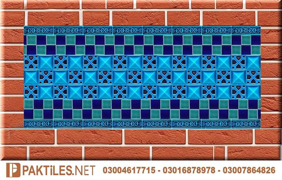 Pak clay mosaic multani tiles blue pottery art work pakistan